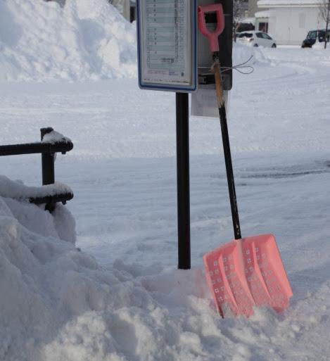 ピンクの雪スコップ