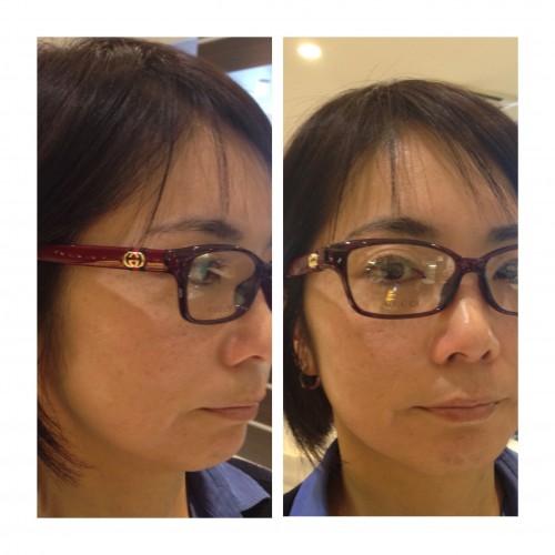レッドのスクエア型メガネ