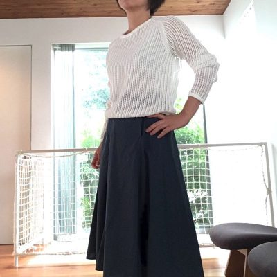 メッシュクルーネックセーター